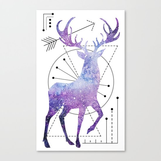 Ethnic deer and space Canvas Print
