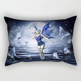 Blue Fairy and Butterflies Rectangular Pillow