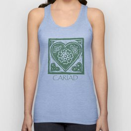 Cariad, darling sweetheart Welsh lino print green Unisex Tank Top