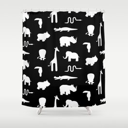Exotic white animals pattern Shower Curtain