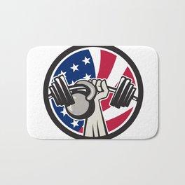 American Hand Barbell Kettlebell USA Flag Bath Mat