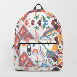 Rainbow No. 7 - the sun, the moon, palm trees, eyes, rainbows and more pattern Backpack