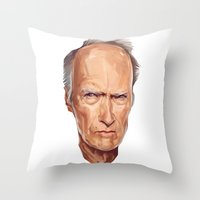 clint eastwood Throw Pillows featuring Clint Eastwood by Viktor Miller Gausa