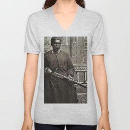 African American Portrait Shotgun 'Mary Wells' by Jeanpaul Ferro Unisex V-Neck