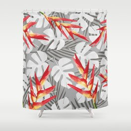 Heliconia Flower with white Monstera Leaves Shower Curtain