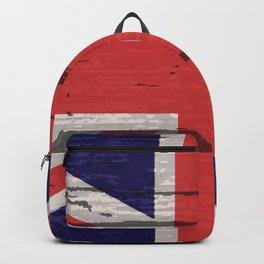 Union Jack UK Flag On Old Timber Backpack