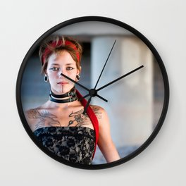 Tattooed Young Woman - A Portrait Wall Clock