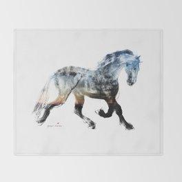 Horse (Summer Friesian) Throw Blanket