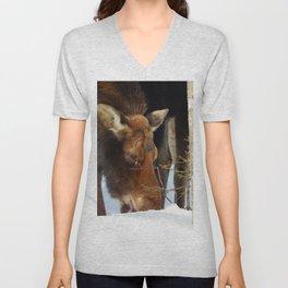 Moose Eating Snow Unisex V-Neck