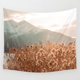 Golden Wheat Mountain // Yellow Heads of Grain Blurry Scenic Peak Wall Tapestry