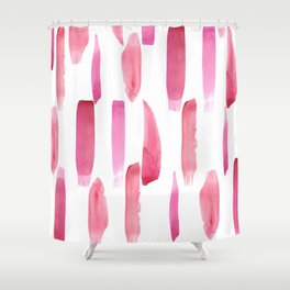 Modern geometrical pink watercolor brushstrokes Shower Curtain