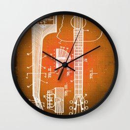 Gibson Thaddeus J Mchugh Guitar Patent Blueprint Drawing Sepia Wall Clock