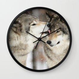 Wolf Kisses Wall Clock