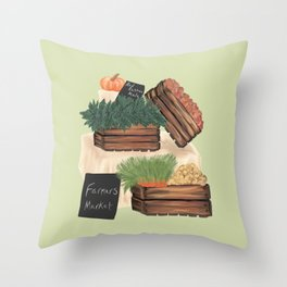 Farmers' Market Throw Pillow