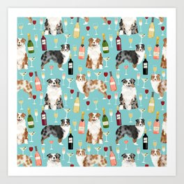 Australian Shepherd blue and red merle wine cocktails yappy hour pattern dog breed Art Print