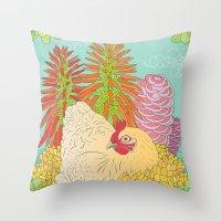 chicken Throw Pillows featuring Chicken by Raewyn Haughton