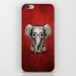 Cute Baby Elephant Dj Wearing Headphones and Glasses on Red iPhone Skin