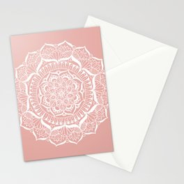 White Flower Mandala on Rose Gold Stationery Cards