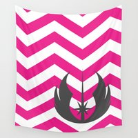 jedi Wall Tapestries featuring Jedi Order Chevrons in Hot Pink and Dark Gray by foreverwars