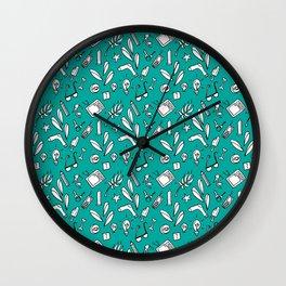 LotteZ' purse items doodle print (mint) Wall Clock