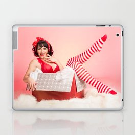 """Holiday Gift Box"" - The Playful Pinup - Christmas Present Pin-up Girl by Maxwell H. Johnson Laptop & iPad Skin"