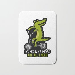 Crocodile bike ride sports gift Bath Mat
