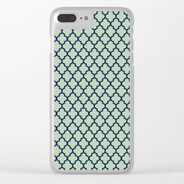 Modern mint green navy blue moroccan quatrefoil Clear iPhone Case