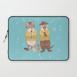 A GIRL WITH CAT and OTTER wide Laptop Sleeve