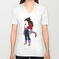 vegeta V-neck T-shirts featuring Vegeta SSJ 4  by JHTY