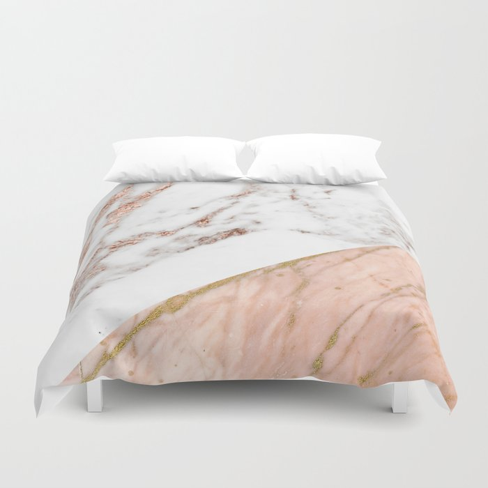 Marble Rose Gold Blended Duvet Cover By Marbleco Society6