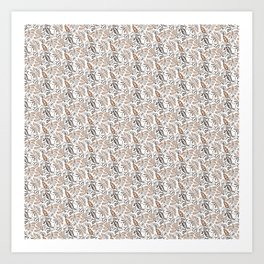 Classic Brown Batik Walang Pattern on White Background Art Print