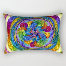 Psychedelic Dragons Rainbow Spirals Mandala Rectangular Pillow