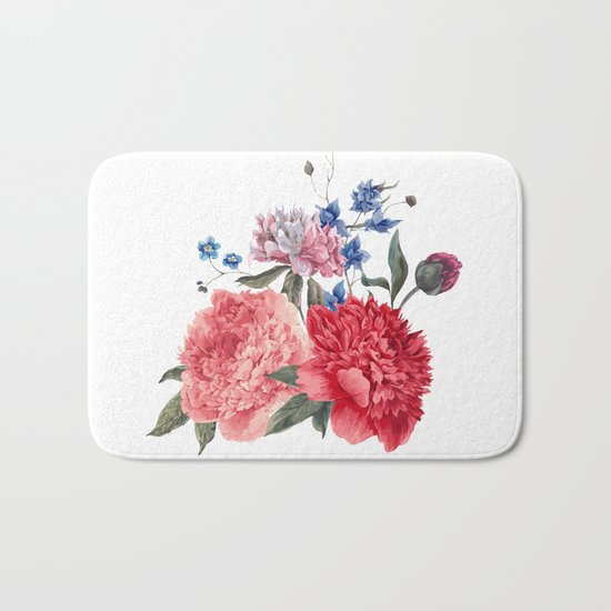 Beautiful PINK, ROSE AND BLUE - Jersey Beauty Flower Bath Mat