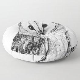 Barn Owl - Drawing In Black Pen Floor Pillow