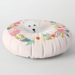 Westie floral wreath dog breed pure breed pet portrait Floor Pillow