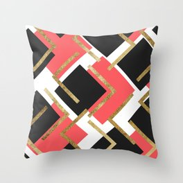 Chic Coral Pink Black and Gold Square Geometric Throw Pillow