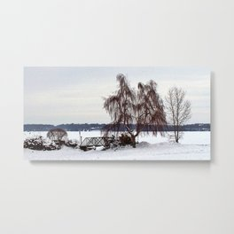 Weeping Willow on the Frozen Lake Metal Print