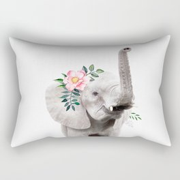 Baby Elephant with Flower Crown Rectangular Pillow