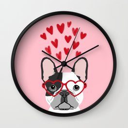French Bulldog heart glasses valentines day dog breed pet gift frenchies Wall Clock