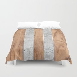Wood Grain Stripes - Concrete #347 Duvet Cover