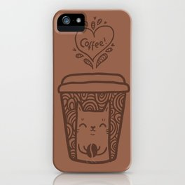 Doodle coffee cat iPhone Case