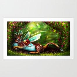 Caracaral Deer Fairy Art Print