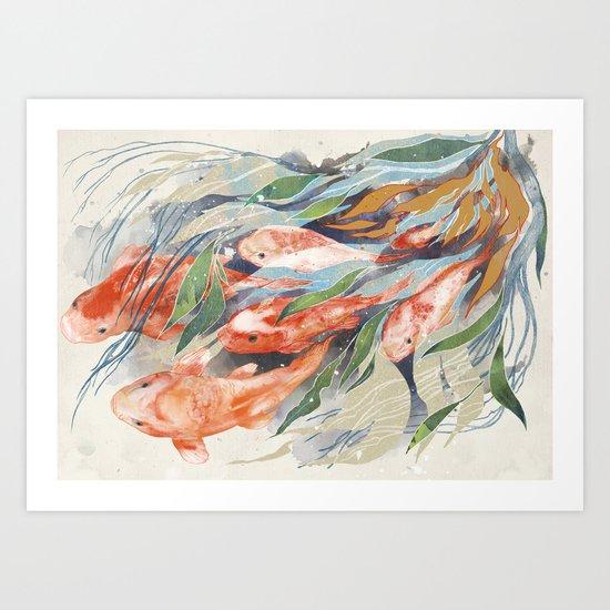 in the waterweeds Art Print