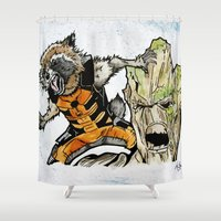 rocket raccoon Shower Curtains featuring Rocket Raccoon and Groot by artbyteesa