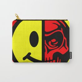 Smiley Face Skull Yellow Red Border Carry-All Pouch