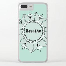 Breathe Yoga Boho Mandala Light Blue Green Clear iPhone Case