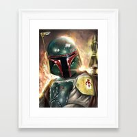 boba Framed Art Prints featuring Boba Fett by Mishel Robinadeh