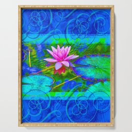 Lotus Blossom Blues Serving Tray