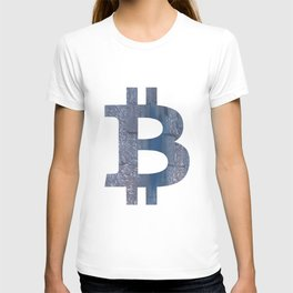 Bitcoin Slate gray vague watercolor painting T-shirt