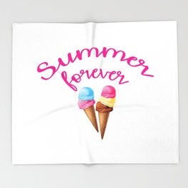 Summer forever with icecream Throw Blanket